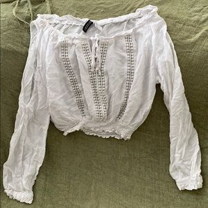 Long sleeve white crop top blouse